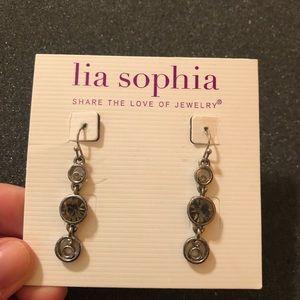 Lia Sophia Silver Circle Dangle Earrings
